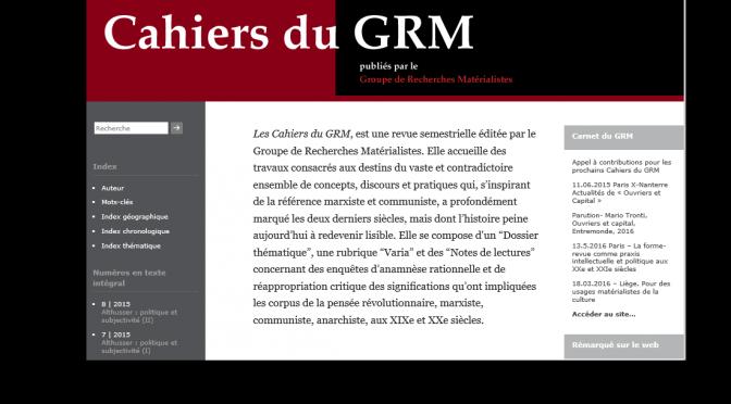 Appel à contributions pour les prochains Cahiers du GRM